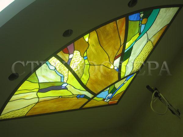 Витражные потолки, витражи на потолок (потолочные витражи). Витраж в технике «Тиффани» в полуциркульной алюминиевой раме
