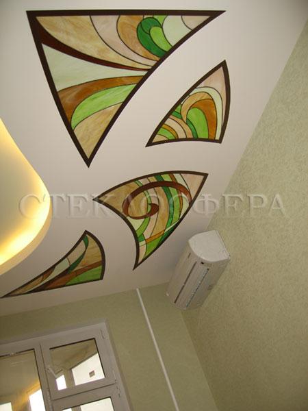 Витражные потолки, витражи на потолок (потолочные витражи). Витражные вставки гипсокартонного потолка