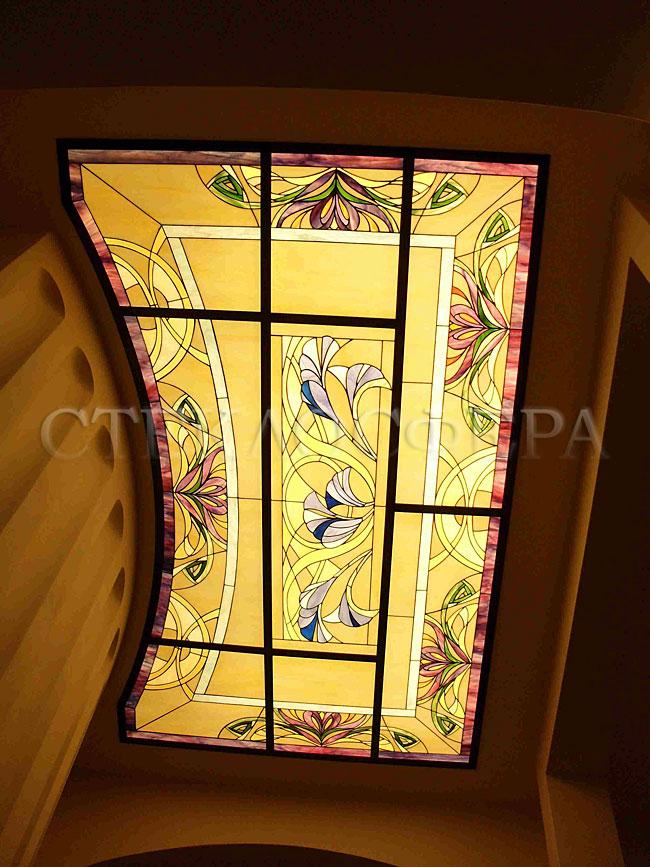 Витражные потолки, витражи на потолок (потолочные витражи). Витраж на потолке с художественным освещением