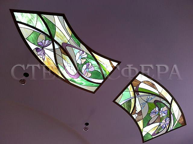 Витражные потолки, витражи на потолок (потолочные витражи). Потолочные витражные вставки с художественным освещением