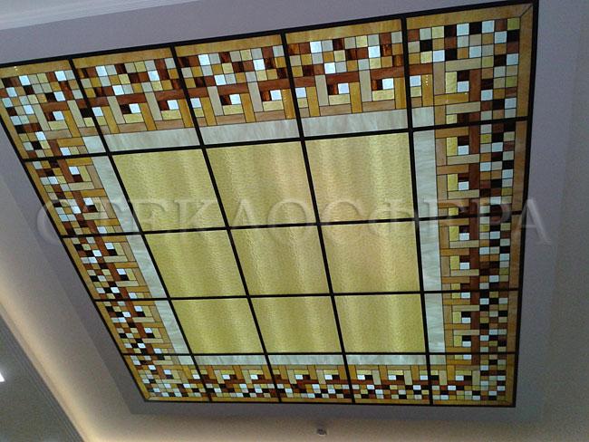 Витражные потолки, витражи на потолок (потолочные витражи). Потолочный пескоструйный витраж с подсветкой