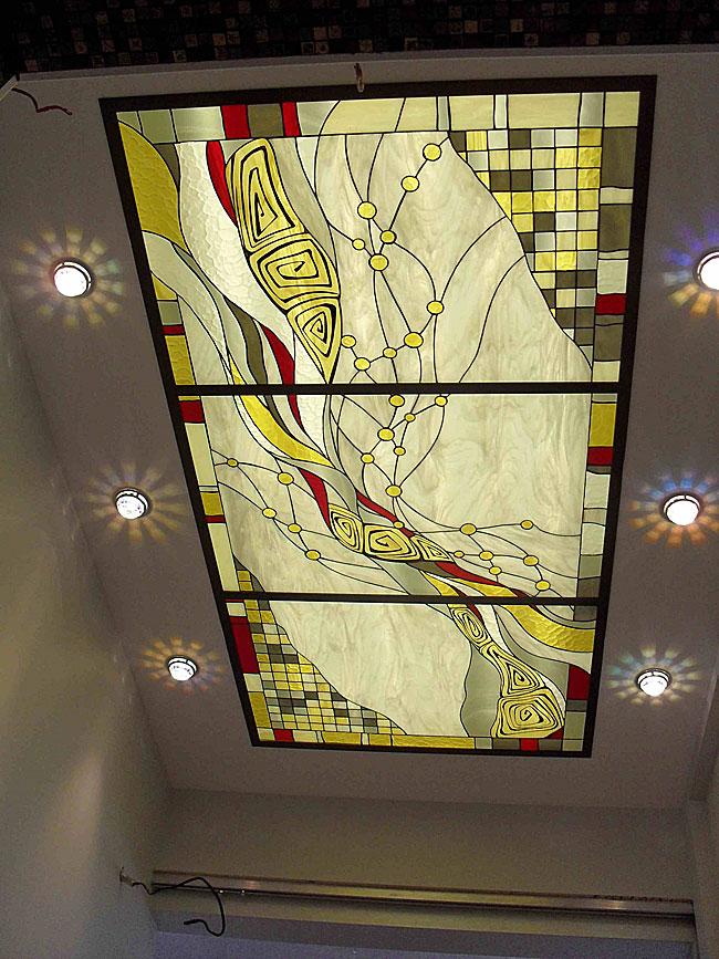 Витражные потолки, витражи на потолок (потолочные витражи). Витражный потолок в абстрактном стиле