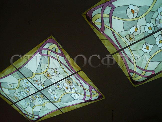 Витражные потолки, витражи на потолок (потолочные витражи). Потолочные плафоны с витражным стеклом