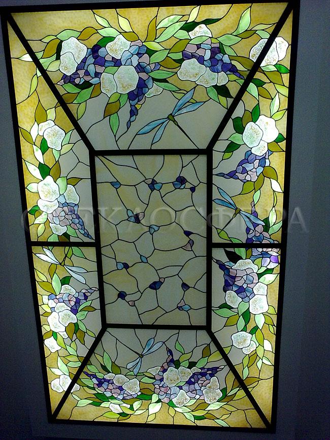 Витражные потолки, витражи на потолок (потолочные витражи). Декоративное освещение в сочетании с витражным стеклом