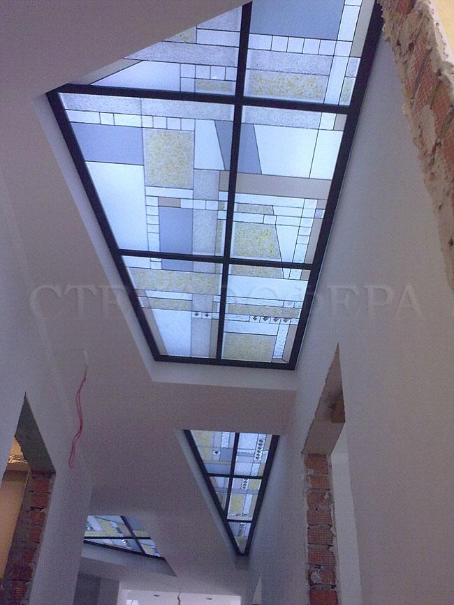Витражные потолки, витражи на потолок (потолочные витражи). Витражные вставки в потолок