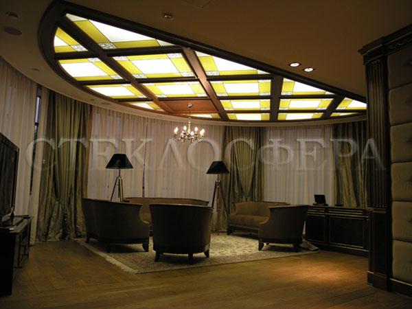 Витражные потолки, витражи на потолок (потолочные витражи). Кессонный потолок с витражами в комбинированной технике
