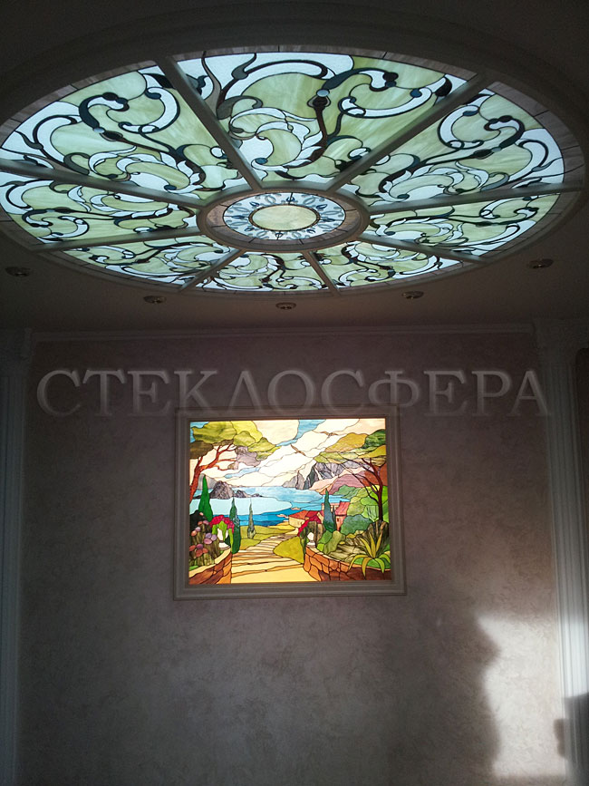 Витражные потолки, витражи на потолок (потолочные витражи). Витражный потолок в стиле «Итальянская классика»