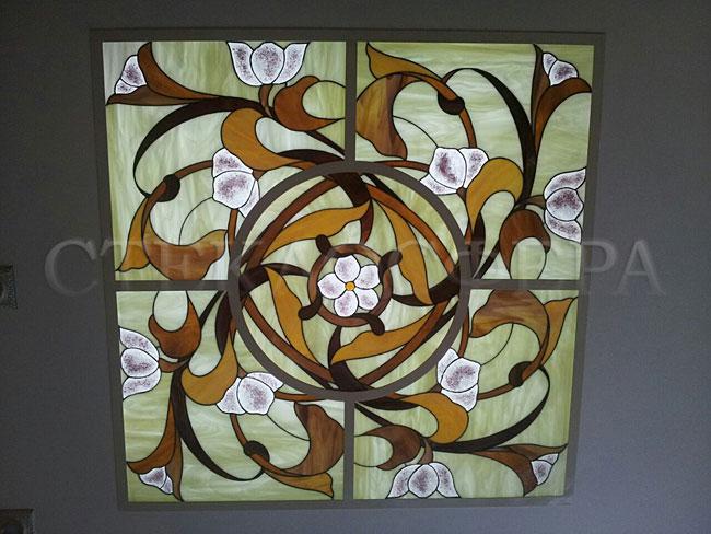 Витражные потолки, витражи на потолок (потолочные витражи). Витражный потолок «Цветочная спираль»