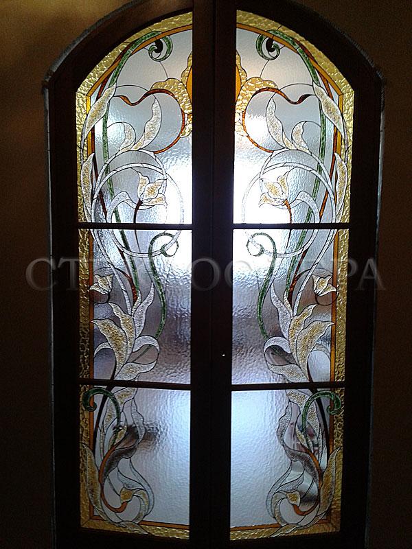 Стеклянные двери (с витражами), витражи для дверей на заказ в Москве. Современная витражная дверь