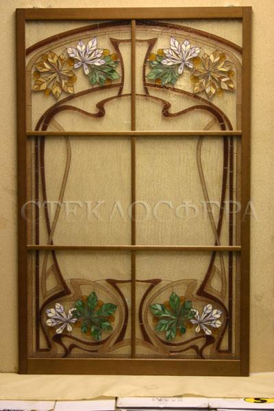 Стеклянные двери (с витражами), витражи для дверей на заказ в Москве. Раздвижная дверь с растительным орнаментом в стиле «Ар-Нуво»