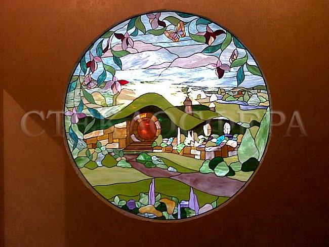 Оформление ниши, витраж в нишу, дизайн ниши в стене. Витраж «Шир - деревня хоббитов» в детской