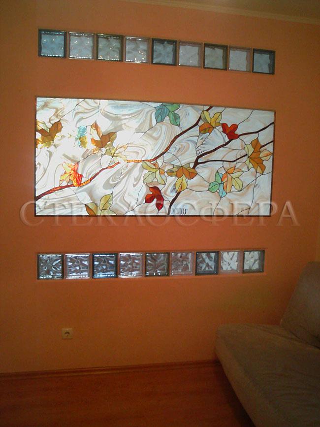 Оформление ниши, витраж в нишу, дизайн ниши в стене. Витражное панно «Осенний перламутр»