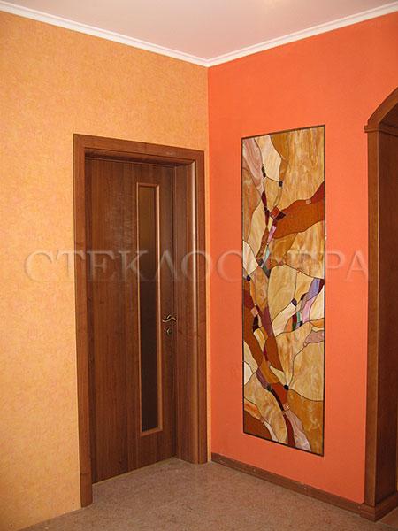 Оформление ниши, витраж в нишу, дизайн ниши в стене. Декоративная ниша, абстрактный рисунок