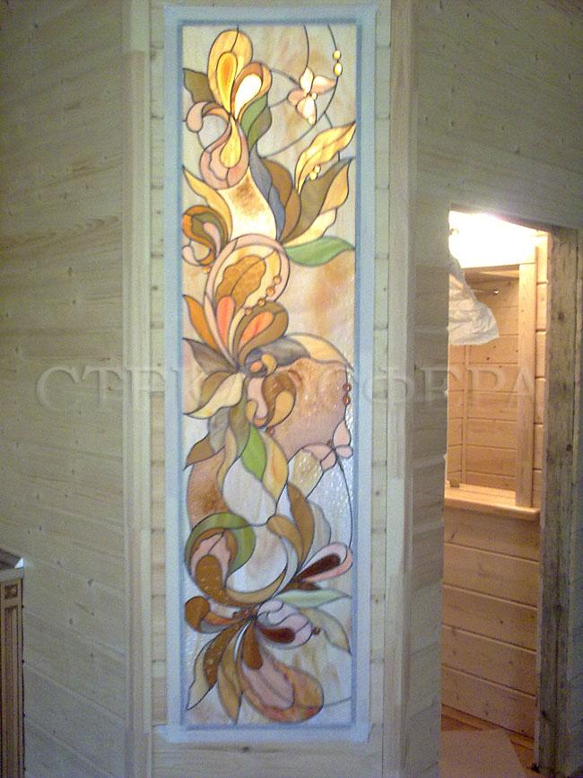 Оформление ниши, витраж в нишу, дизайн ниши в стене. Витражные вставки с цветочным рисунком
