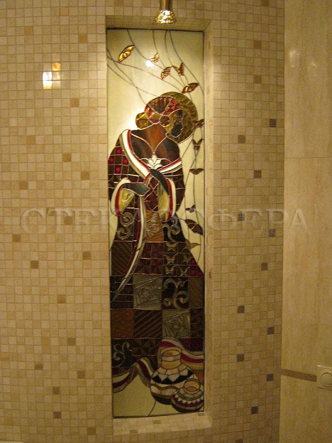 Оформление ниши, витраж в нишу, дизайн ниши в стене. Витражные вставки из слабопросвеченного стекла