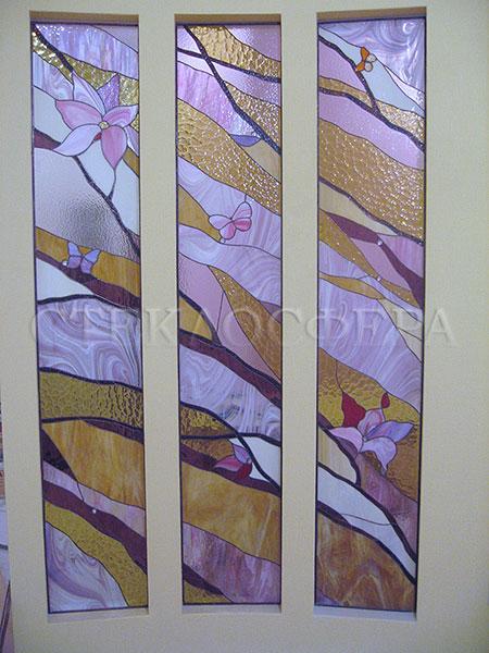 Оформление ниши, витраж в нишу, дизайн ниши в стене. Витражный триптих «Флора»