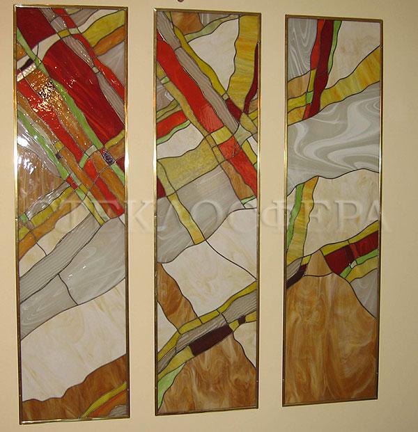 Оформление ниши, витраж в нишу, дизайн ниши в стене. Витражная композиция в абстрактном стиле
