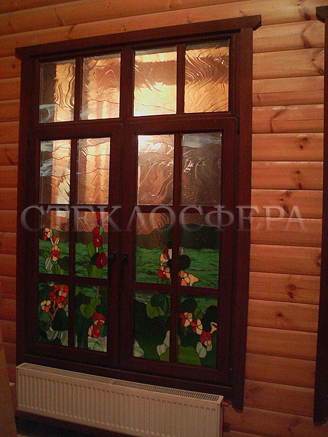Витражи на окна. Купить витражные окна в Москве. 4-45 Витраж «Луг» с комбинацией непрозрачных цветных и прозрачных фактурных стекол
