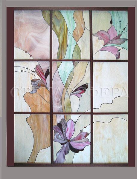 Витражи на окна. Купить витражные окна в Москве. Интерьерное окно-витраж «Летящие орхидеи»